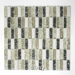 GREEN/GRAY Mix Clear Translucent Mosaic tile STICK GLASS/STONE 87-S125210 sheet