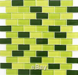 GREEN MIX BRICK 3D Mosaic clear tile GLASS WALL Bath&Kitchen 76-0506 10 sheet