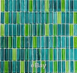 GREEN MIX Mosaic clear tile STICK GLASS WALL Bathroom Kitchen 77-0508 10sheet