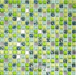 GREEN/SILVER Glitter Translucent Mosaic tile GLASS/STEEL WALL 92-050610 sheet
