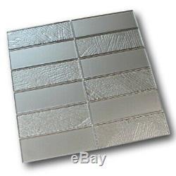 Glacier 2x6 Stack Mounted Glass Mosaic Tiles Palladium Backsplash/Bathroom