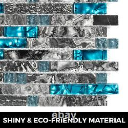 Glass Backsplash Tile Caribbean Sea Gray Marble Style Mosaic Tile 12 Sheets