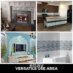 Glass Backsplash Tile Caribbean Sea style Gray Marble Mosaic Sea Blue 12 Sheet