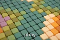 Glass Mosaic Decor Green Matt Mosaic Tiles Wall Mirror Tiles Kitchen Bath M