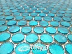 Glass Mosaic Tile Penny Round Aqua 12 x 12 Sheet 5 sheets