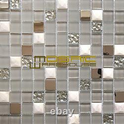 Glass, Stone, and Metal Kitchen Backsplash Bathroom Mosaic Tile, GM 8303 Nana