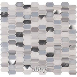 Glass Tile 11.5 in. X 12.4 in. X 8 mm Frost Resistant Textured Harlow Picket