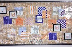 Glass Tile Mosaic Art Mid Century Mod Mural 42 Kitchen Island Bar Counter Top