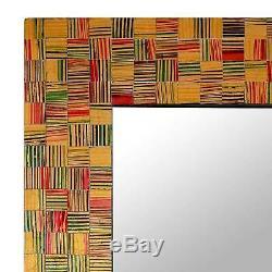 Glass Tile Wall Mirror'Sunset Flare' Multicolor Mosaic Original NOVICA India