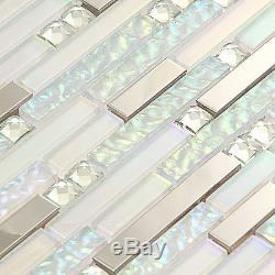 Glass Tile White Kitchen Mosaic Bathroom Wall Tile Backsplash Iridescent Tiles