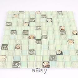 Glass Tile White Shell Mosaic tile Iridescent Backsplash Subway Wall Sheet11PCS