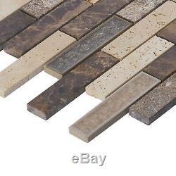 Glass Travertine Emperador Marble Stone Beige Brown Mosaic Tile Wall Backsplash