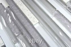 Glass mosaic tile rod chopstick artificial white grey glass 86-MS9010sheet