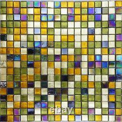 Gold Green Ice Glass Iridescent Blend Kitchen Bath Mosaic Tile Backsplash Wall