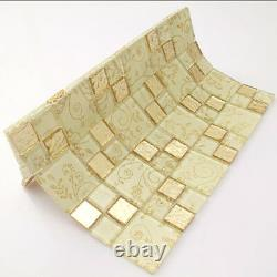 Gold Mosaic Tile Mirror Backsplash Yellow Tiles Bathroom Flower Mosaic 11PCS