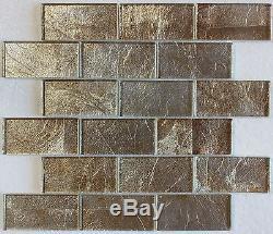 Gold Silver Foil Glass Mosaic Tile 2X4, Bath Kitchen Backsplash Wall