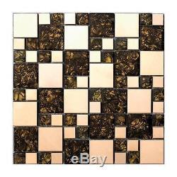 Gold metal glass mosaic tile kitchen backsplash bathroom decorative wall tile