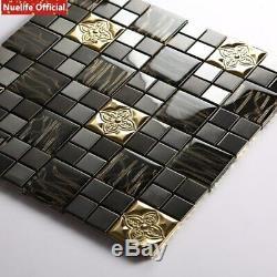 Golden Flower Mosaic 3D Wall Sticker Crystal Glass Stainless Steel Tile Living