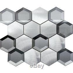 Gray Aluminum Glass Hexagon Modern Mosaic Tile Metallic Backsplash Kitchen Wall
