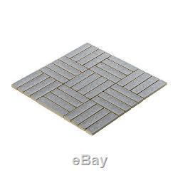 Gray Blue Crackle Glass Basketweave Parquet Mosaic Tile Kitchen Wall Backsplash