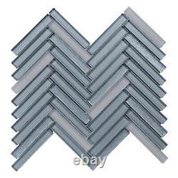 Gray Cold Spray Crystal Glass Herringbone Mosaic Tile Kitchen Wall Backsplash