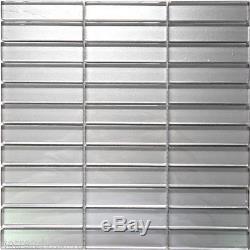 Gray Cold Spray Metallic Crystal Glass Mosaic Tile Stack Pattern Wall Backsplash