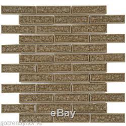 Gray Crackle Glas Mosaic Tile Brick Joint Pattern Kitchen Shower Wall Backsplash