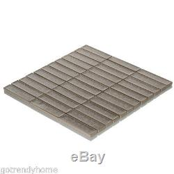 Gray Crackled Glass Mosaic Tile Stacked Pattern Kitchen Shower Wall Backsplash