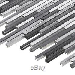 Gray Glass Metal Aluminum Blend Linear Mosaic Tile Kitchen Wall Backsplash