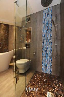 Gray Marble Mosaic Subway Interlock Blue Glass Brick Kitchen Backsplash Tile