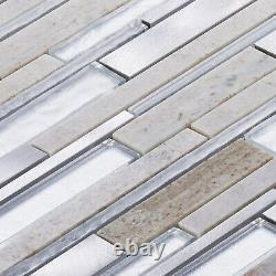 Gray Quartzite Stone Aluminum Metallic Foiled Glass Mosaic Tile Wall Backsplash