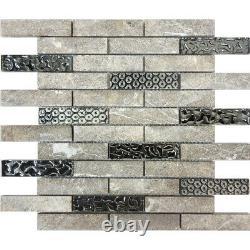 Gray Raw White Oak Stone Blend Metallic Silver Glass Mosaic Tile Wall Backsplash