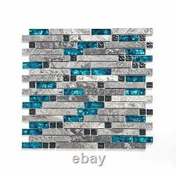 Gray Stone&Glass Linear Mosaic Tiles for Bathroom Wall, Kitchen 12''x12'