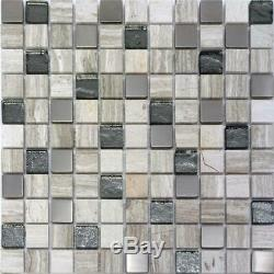 Gray White Marble Stainless Steel Metallic Glass Mosaic TIle Kitchen Wall