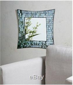 Green Aqua Retro Mosaic Tile Square Wall Mirror Boho Chic Glass Decor, 20 x 20