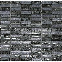 Grey & Black Glass Glitter Mosaic Tiles Sheet For Walls Floors Bathrooms Kitchen