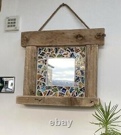 HANDMADE wall mirror, MEXICAN mosaic tiles, glass, CHUNKY reclaimed wood frame