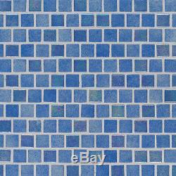 HAWAIIAN BEACH 1x1x4mm Staggered GLASS MOSAICS BLUE BACKSPLASH WALL TILE