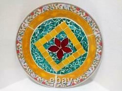 Handmade Mosaic Bowl Cut Glass & Tiles, Wall Hanging Colorful Very Cute