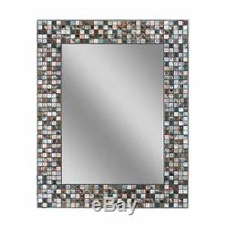 Headwest Earthtone Copper-Bronze Mosaic Tile Wall Mirror, 24 inches by 30