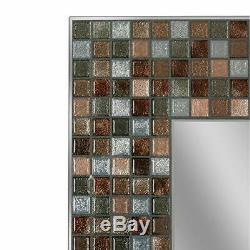 Headwest Earthtone Copper-Bronze Mosaic Tile Wall Mirror, 24 inches by 30 inches