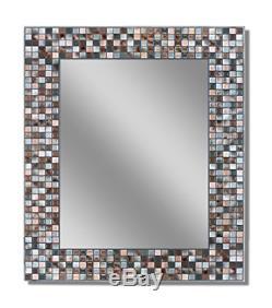 Headwest Earthtone Copper-Bronze Mosaic Tile Wall Mirror, 24 x 30