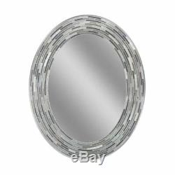 Headwest Reeded Charcoal Oval Tiles Wall Mirror, 23 x 29