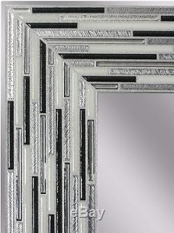 Headwest Reeded Charcoal Tiles Wall Mirror, 30 inches by 24 inches, 30 x 24