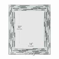 Headwest Reeded Charcoal Tiles Wall Mirror 30 inches by 24 inches 30 x 24