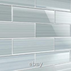 Heron Gray 4 In. X 12 In. Glass Tile For Kitchen Backsplash And Showers 10 Sq