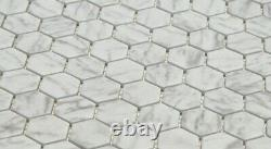 Hexagon White Carrara Effect Glass Mosaic Tiles Sheet for Walls Floors Bathrooms