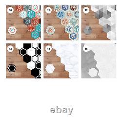 Hexagonal Floor Tile Stickers Decal Transfer PVC 3D Self Adhesive Non Slip Decor