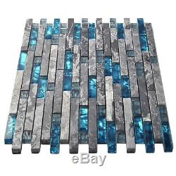 Home Building Glass Tiles Wall Interlocking Gray Marble Blue Sea Backsplash Tile