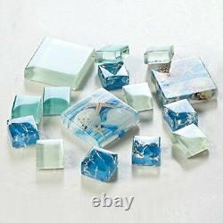 Hominter 11-Sheets Blue Ice Crack Glass Tile, Box of 11 Sheets, Blue, White
